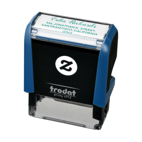 simple return address with cursive name blue self-inking stamp