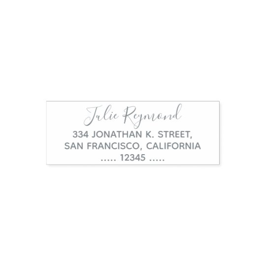 simple return address with elegant cursive name self-inking stamp