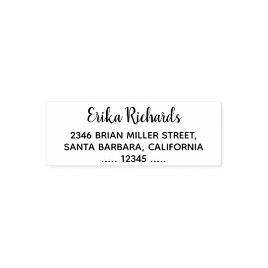 simple return address with handwritten name white self-inking stamp