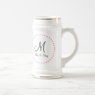 Simple ring of hearts 18 oz beer stein