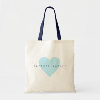 simple & romantic blue heart tote bag