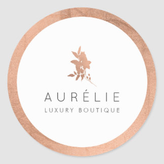 Simple Rose Gold Floral Luxury Boutique Classic Round Sticker