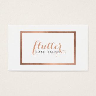 Simple Rose Gold Framed Logo Text Lash Salon Business Card