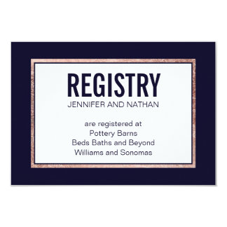 Simple Rose Gold Lined Navy Blue Gift Registry Card