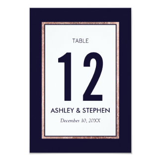 Simple Rose Gold Lined Navy Blue Table Numbers Card