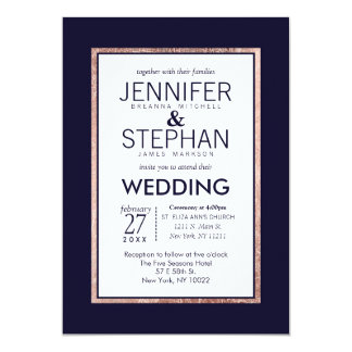 """Simple Rose Gold Lined Navy Blue Wedding 5"""" X 7"""" Invitation Card"""