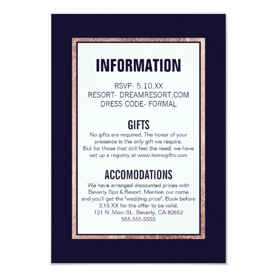 Simple Rose Gold Lined Navy Blue Wedding Details Card