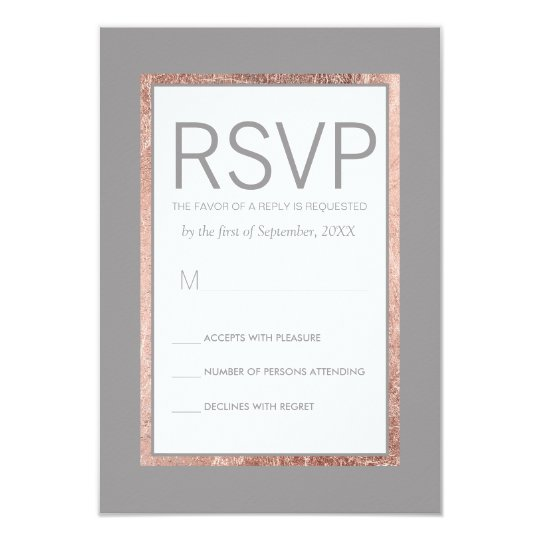 Simple Rose Gold Lined Slate Grey RSVP Cards