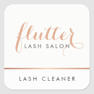 Simple Rose Gold Logo Lash Extensions Square Sticker