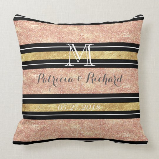 Simple rose gold stripes wedding art throw pillow