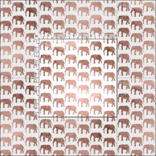Simple rose gold wild elephants pattern fabric