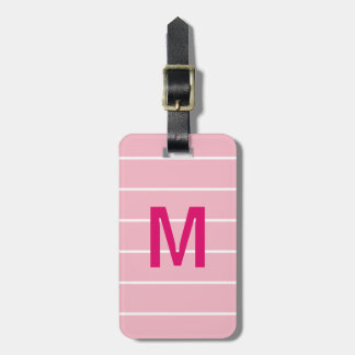 Simple Rose White Lines Pink Bold Monogram Luggage Tag