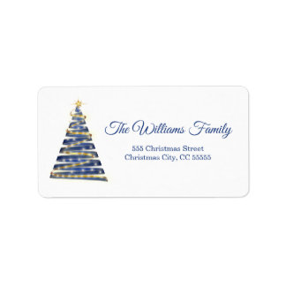 Simple Royal Blue Christmas Tree Address Label
