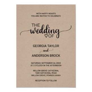 Simple Rustic Kraft Modern Calligraphy Wedding Card