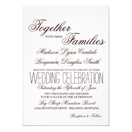 Simple Rustic Typography Wedding Invitations