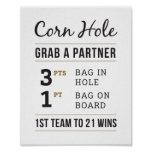 Simple Rustic Wedding Corn Hole Rules 8x10 Sign