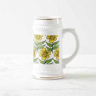 Simple Rustic Yellow Flowers Pattern Coffee Mugs