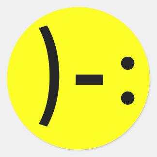 Simple Sad Face Smiley Classic Round Sticker