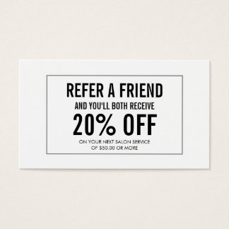 Simple Salon Customer Referral Card