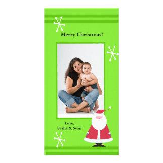 Simple Santa Green Holiday Christmas Photo Card