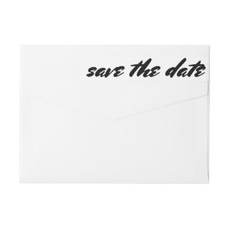 Simple Save The Date Bold Typography Wedding Wraparound Return Address Label