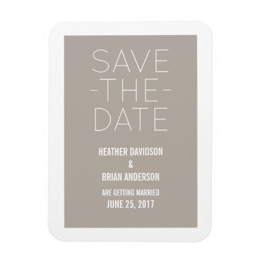 Simple Save the Date Magnet, Beige