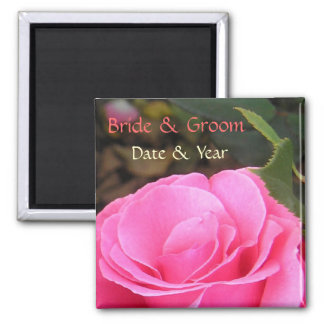 Simple save the date pink rose customizable magnet