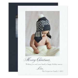 Simple Script Blue Merry Christmas Holiday Card