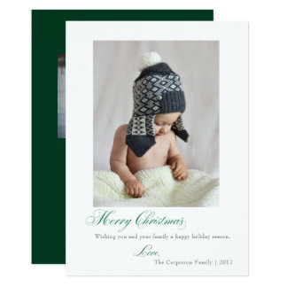 Simple Script Green Merry Christmas Holiday Card