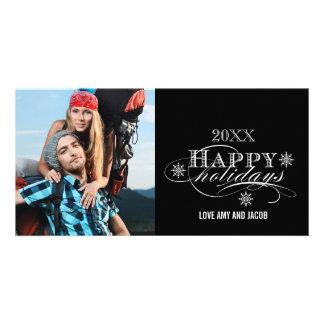 SIMPLE SCRIPT HAPPY HOLIDAYS PHOTO CARD BLACK