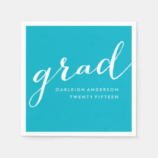 Simple Script in Aqua | Graduation Napkins Paper Napkins