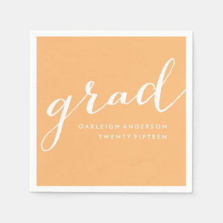 Simple Script in Orange | Graduation Napkins Paper Napkin