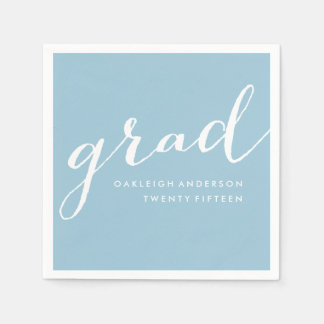 Simple Script in Pale Blue | Graduation Napkins Disposable Napkins