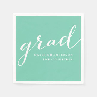 Simple Script in Sea foam | Graduation Napkins Disposable Napkin
