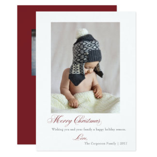 Simple Script Marsala Merry Christmas Holiday Card