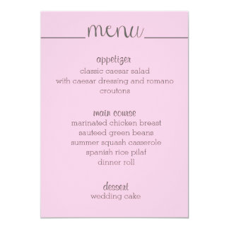 Simple Script Menu Card- pink Card