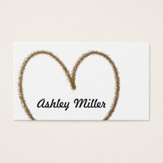 Simple Script White & Gold Glitter Heart Business Card