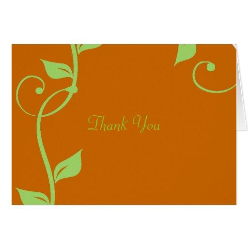 Simple Scrolling Vine Burnt Pumpkin Thank You Card