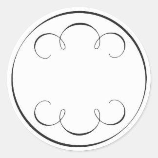 simple scrolls classic round sticker