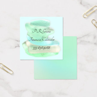 Simple Sea Glass Green Square Business Cards