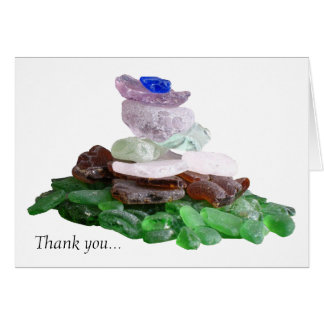 Simple Sea Glass White Thank You Card