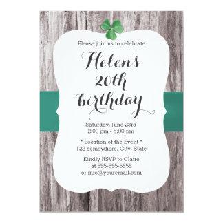 Simple Shamrock Teal Ribbon Wood Birthday Party Card