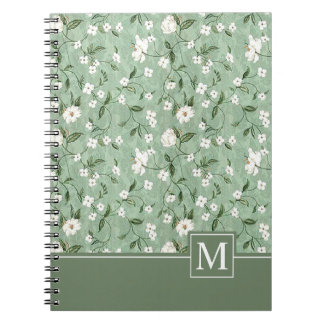 Simple Shower of White Flowers Monogram | Notebook