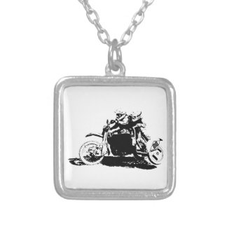 Simple Sidecarcross Design Silver Plated Necklace