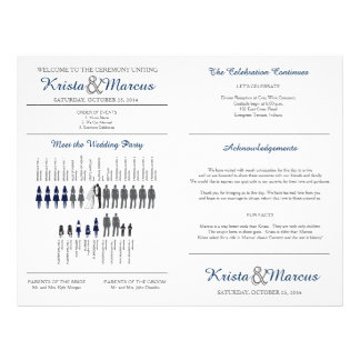 Simple Silhouettes Wedding Program Fan