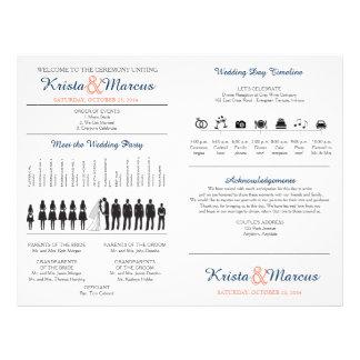 Simple Silhouettes Wedding Program Fan Full Color Flyer