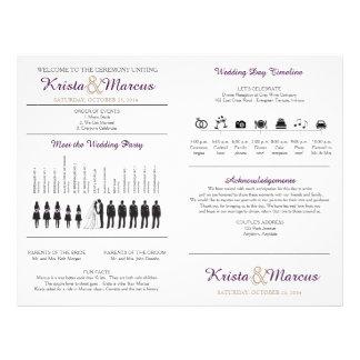 Simple Silhouettes Wedding Program Fan Full Colour Flyer