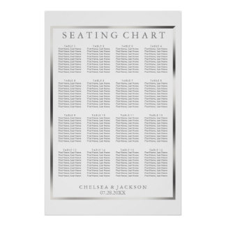 Simple Silver and White   - 16 Table Seating Chart