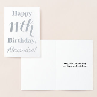Simple Silver Foil 11th Birthday + Custom Name Foil Card