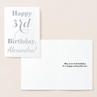 Simple Silver Foil 3rd Birthday + Custom Name Foil Card